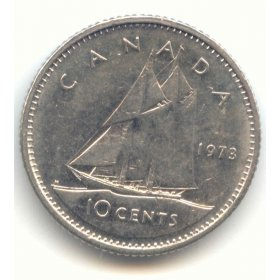 1973 Canadian 10-Cent Bluenose Schooner Dime Coin (Brilliant Uncirculated)