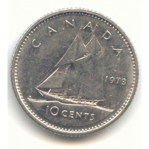 1973 Canadian 10-Cent Schooner Dime Coin (Brilliant Uncirculated)