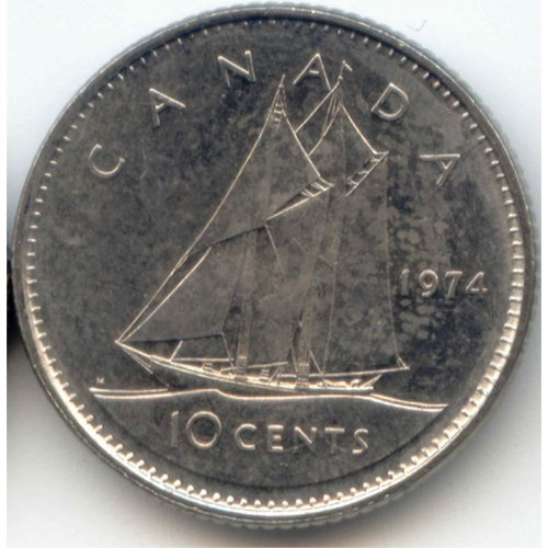1974 Canadian 10-Cent Bluenose Schooner Dime Coin (Brilliant Uncirculated)