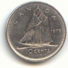 1975 Canadian 10-Cent Bluenose Schooner Dime Coin (Brilliant Uncirculated)