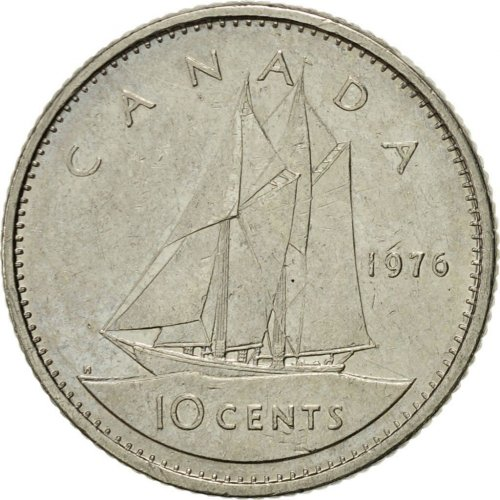 1976 Canadian 10-Cent Bluenose Schooner Dime Coin (Brilliant Uncirculated)