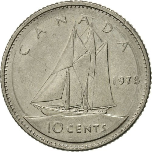 1978 Canadian 10-Cent Bluenose Schooner Dime Coin (Brilliant Uncirculated)