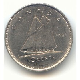1981 Canadian 10-Cent Schooner Dime Coin (Brilliant Uncirculated)