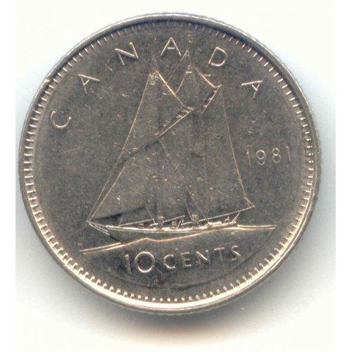 1981 Canadian 10-Cent Schooner Dime Coin (Brilliant Uncirculated)