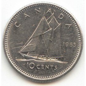 1983 Canadian 10-Cent Bluenose Schooner Dime Coin (Brilliant Uncirculated)