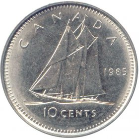 1985 Canadian 10-Cent Schooner Dime Coin (Brilliant Uncirculated)