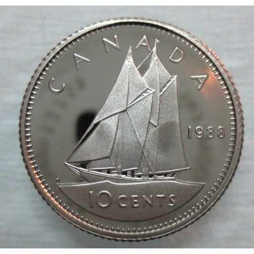 1988 Canadian 10-Cent Schooner Dime Coin (Brilliant Uncirculated)