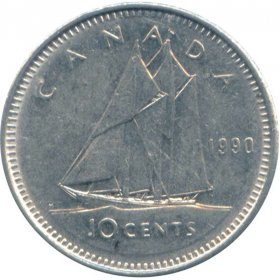 1990 Canadian 10-Cent Schooner Dime Coin (Brilliant Uncirculated)