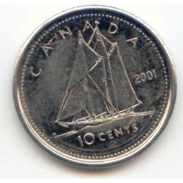 2001-P Canadian 10-Cent Bluenose Schooner Dime Coin (Brilliant Uncirculated)