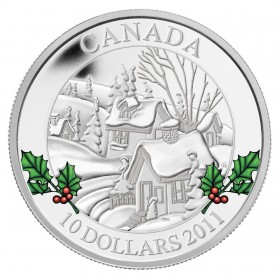 2011 Canadian $10 Wintertown 1/2 oz Fine Silver Coin