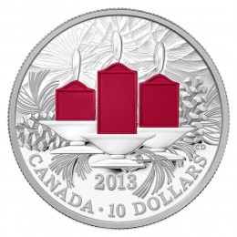 2013 Canada Fine Silver $10 Coin - Holiday Candles