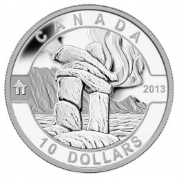 2013 Canadian $10 O Canada Series: Inukshuk - 1/2 oz Fine Silver Coin