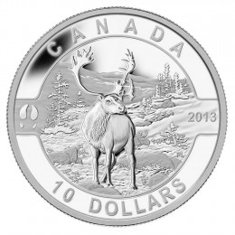 2013 Canadian $10 O Canada Series: The Caribou - 1/2 oz Fine Silver Coin