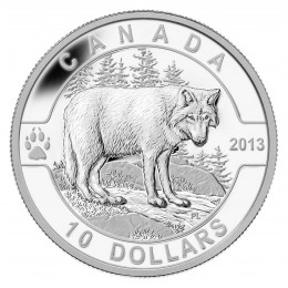 2013 Canadian $10 O Canada Series: The Wolf - 1/2 oz Fine Silver Coin