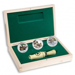 2013 Canadian $10 Ducks of Canada - 1/2 oz Fine Silver 3-Coin Set with Display Case and Duck Caller
