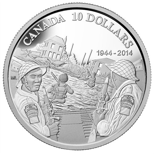 2014 (1944-) Canadian $10 D-Day 70th Anniversary 1/2 oz Fine Silver Coin