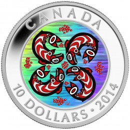 2014 Canada Fine Silver $10 Coin - First Nations Art: Salmon