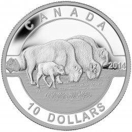 2014 Canadian $10 O Canada Series: Bison - 1/2 oz Fine Silver Coin