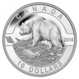 2014 Canadian $10 O Canada Series: Grizzly Bear - 1/2 oz Fine Silver Coin
