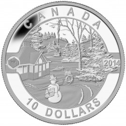 2014 Canadian $10 O Canada Series: Canadian Holiday Scene - 1/2 oz Fine Silver Coin