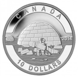 2014 Canadian $10 O Canada Series: The Igloo - 1/2 oz Fine Silver Coin