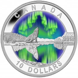 2014 Canadian $10 O Canada Series: Northern Lights - 1/2 oz Fine Silver Coin