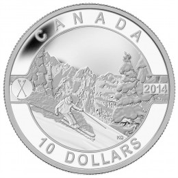 2014 Canadian $10 O Canada Series: Skiing Canada's Slopes - 1/2 oz Fine Silver Coin