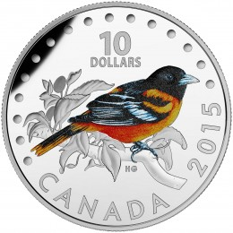 2015 Canadian $10 Colourful Songbirds of Canada: Baltimore Oriole - 1/2 oz Fine Silver Coloured Coin