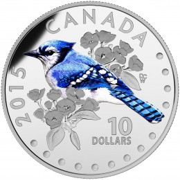 2015 Canadian $10 Colourful Songbirds of Canada: The Blue Jay - 1/2 oz Fine Silver Coloured Coin