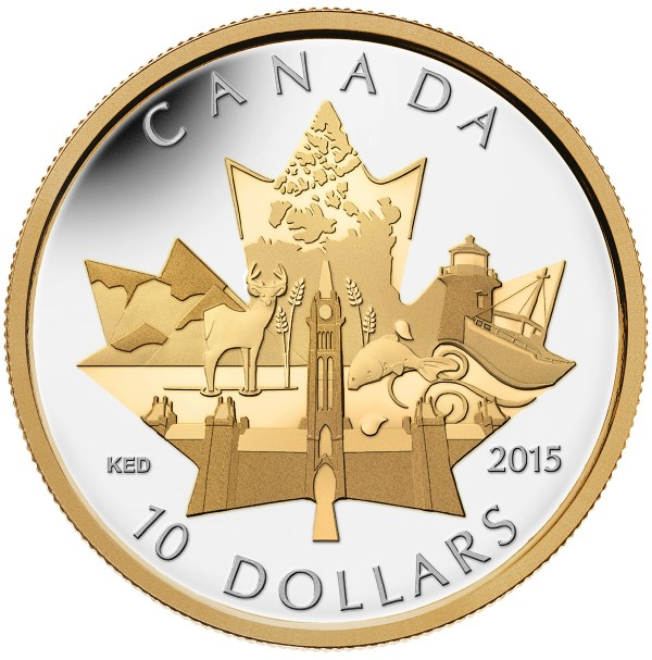 2015 Fine Silver 10 Dollar Coin - Celebrating Canada