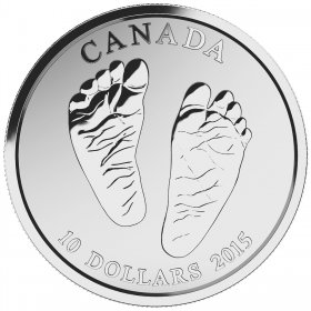 2015 Canadian $10 Welcome to the World, Baby Feet 1/2 oz Fine Silver Coin