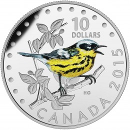 2015 Canadian $10 Colourful Songbirds of Canada: The Magnolia Warbler - 1/2 oz Fine Silver Coloured Coin