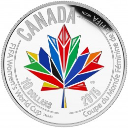 2015 Canadian $10 FIFA Women's World Cup: Canada Welcomes the World - 1/2 oz Fine Silver Coloured Coin