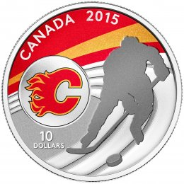 2015 Canadian $10 Canadian Hockey: Calgary Flames - 1/2 oz Fine Silver Coin