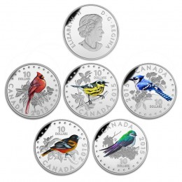 2015 Canadian $10 Colourful Songbirds of Canada - 1/2 oz Fine Silver 5-Coin Set with Musical Display Box