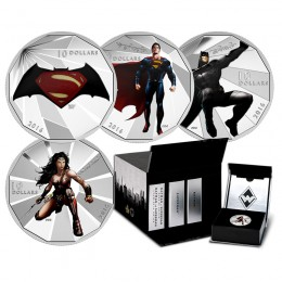2016 Canadian $10 Batman v Superman: Dawn of Justice™ with Display Box - Fine Silver 4-Coin Set-plus 25cent dawn of justice coin
