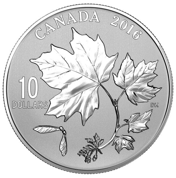 2016 Fine Silver 10 Dollar Coin - Canadian Maple Leaves