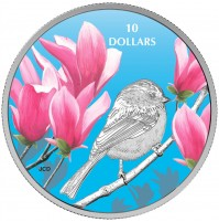 2017 Fine Silver 10 Dollar Coin - Birds Among Nature's Colours: Chickadee