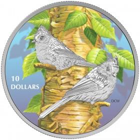 2017 Canada Fine Silver $10 Coin - Birds Among Nature's Colours: Tufted Titmouse