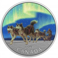 2017 Fine Silver 10 Dollar Coin - Dog Sledding Under the Northern Lights