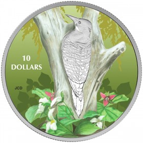2017 Canada Fine Silver $10 Coin - Birds Among Nature's Colours: Northern Flicker