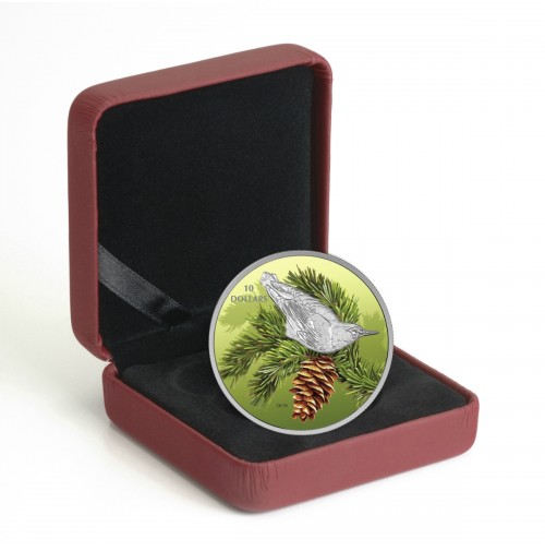 2017 Fine Silver 10 Dollar Coin - Birds Among Nature's Colours: Nuthatch