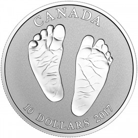 2017 Canadian $10 Welcome to the World, Baby Feet 1/2 oz Fine Silver Coin