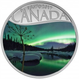 2017 Canadian $10 Celebrating Canada's 150th: Aurora Borealis at McIntyre Creek - 1/2 oz Fine Silver Coin