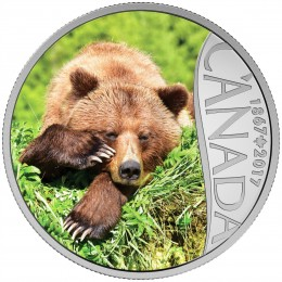 2017 Canadian $10 Celebrating Canada's 150th: Grizzly Bear - 1/2 oz Fine Silver Coin