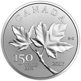 2017 Canadian $10 Celebrating Canada's 150th: Canadian Maple Leaves - 1/2 oz Fine Silver Coin