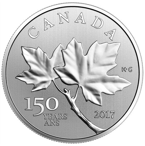 2017 Fine Silver 10 Dollar Coin - Celebrating Canada's 150th: Canadian Maple Leaves