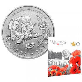 2018 (1918-) Canadian $10 Armistice 100th Anniversary - 1/2 oz Pure Silver Coin