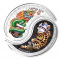 2018 Canadian $10 Black & White Yin & Yang: Tiger & Dragon 1 oz Silver Coloured Coins