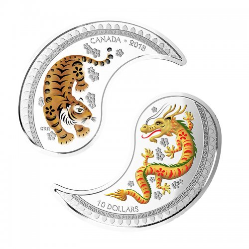 2018 Canadian $10 Yin & Yang: Tiger & Dragon 1 oz Silver Coloured Coins